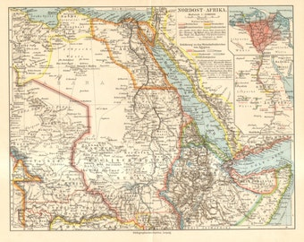 1909 Political Map of Eastern North Africa showing the Colonial Possessions of Germany, England, France and Italy