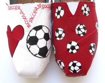 The Soccer TOMS - Red and White Custom TOMS