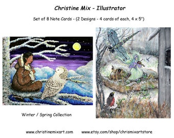 Christine Mix - Set of 8 Note Cards - Winter/Spring Collection
