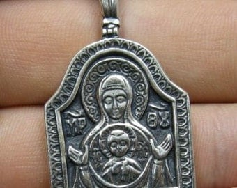 PE000733  Sterling silver pendant   solid 925 Orthodox Mother of God