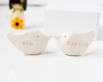 Personalised Anniversary Gift Birds LARGE Size Wedding Gift Cake Topper