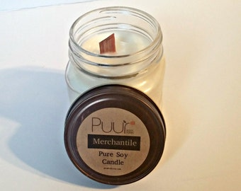 Merchantile Soy Candle Mason Jar  8oz Vegan Candle Handpoured Pure Soy Rustic Western Woodsy Scent