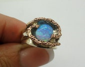 New Artisan 9K Gold Sterling Silver Opal Ring size 6