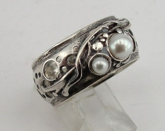 israel design 925 Sterling Silver filligree band Pearl woman Ring size 9 (h 1332b