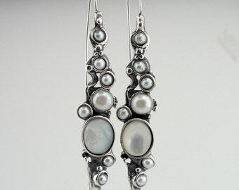 Hadar NEW Long Sterling  Silver Pearl Earrings (H 2151)