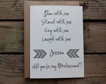 Bridesmaid Matron Maid Of Honor Wedding Party Card With Envelopes Will You
