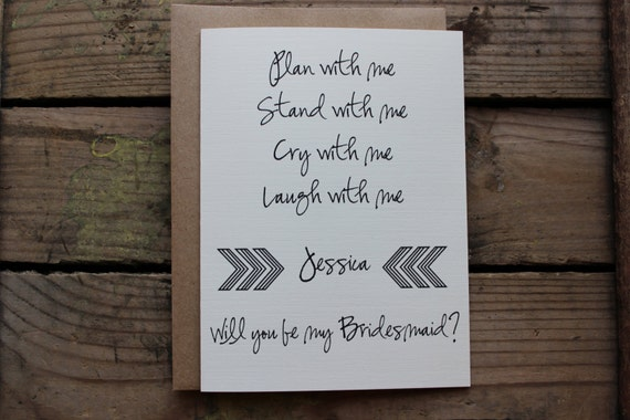 Bridesmaid Matron/Maid Of Honor Wedding Party Card With