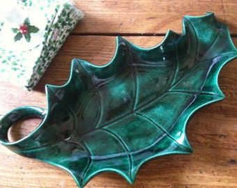 Holly Leaf Dish Green Vintage Handmade Greenware
