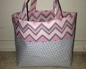 Reversible Gray and Light Pink Chevron and Gray Polka Dot Scripture Tote