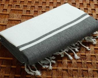 SALE %50 OFF Personalized Turkish Towel - Karia Peshtemal - Monogramed Embroidered - Black - Spa Sauna Yoga Wedding Bachelorette Party Beach