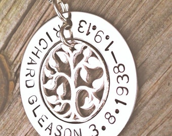memorial necklace, rememberance necklace, tree of life necklace, loved one, loss, loss of father, loss of mother, loss of  friend