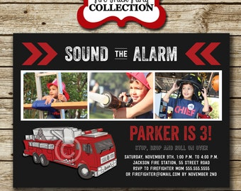 Fire Truck Invitation   Firefighter Invitation   Vintage Fire Truck Invite   Firetruck Invitation   digital printable