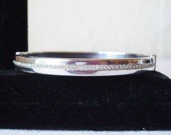 Vintage Sterling Silver Signed Hinged Bangle Bracelet with Zircons