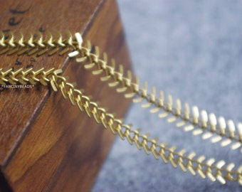 Raw solid brass 20 feet fantastic fish bone chain-F1151-without stripes on surface
