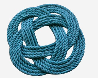"""Rope Trivet 9 """"Knotted Woven Nautical Green or Natural Rope Pot Holder Great Masculine Gift"""