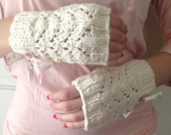 Organic Cotton Fingerless Gloves with Bow