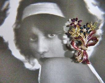 Vintage MONET Floral Bow Brooch - Vintage Floral MONET Brooch - BR-107