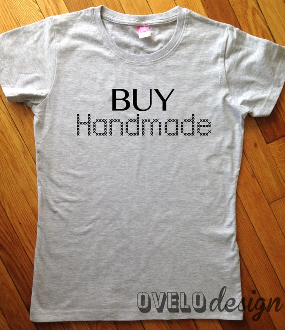 Buy Handmade Women's cut T-shirt Cross Stitch style print