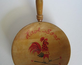 "Vintage Wooden Rooster ""Pan"" wall Hanging/Bowl: ""Have Some""  Made in Japan"