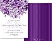 Wedding Invitations with Modern Purple Flower & Pinstripes, Save The Date Cards, Birthday or Wedding Invites with RSVP Cards - Style PIL-024