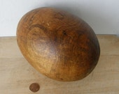 """HUGE WOODEN EGG Great Graining Shape Patina 7"""" Height Very Unusual Oval Egg Decorative Item"""