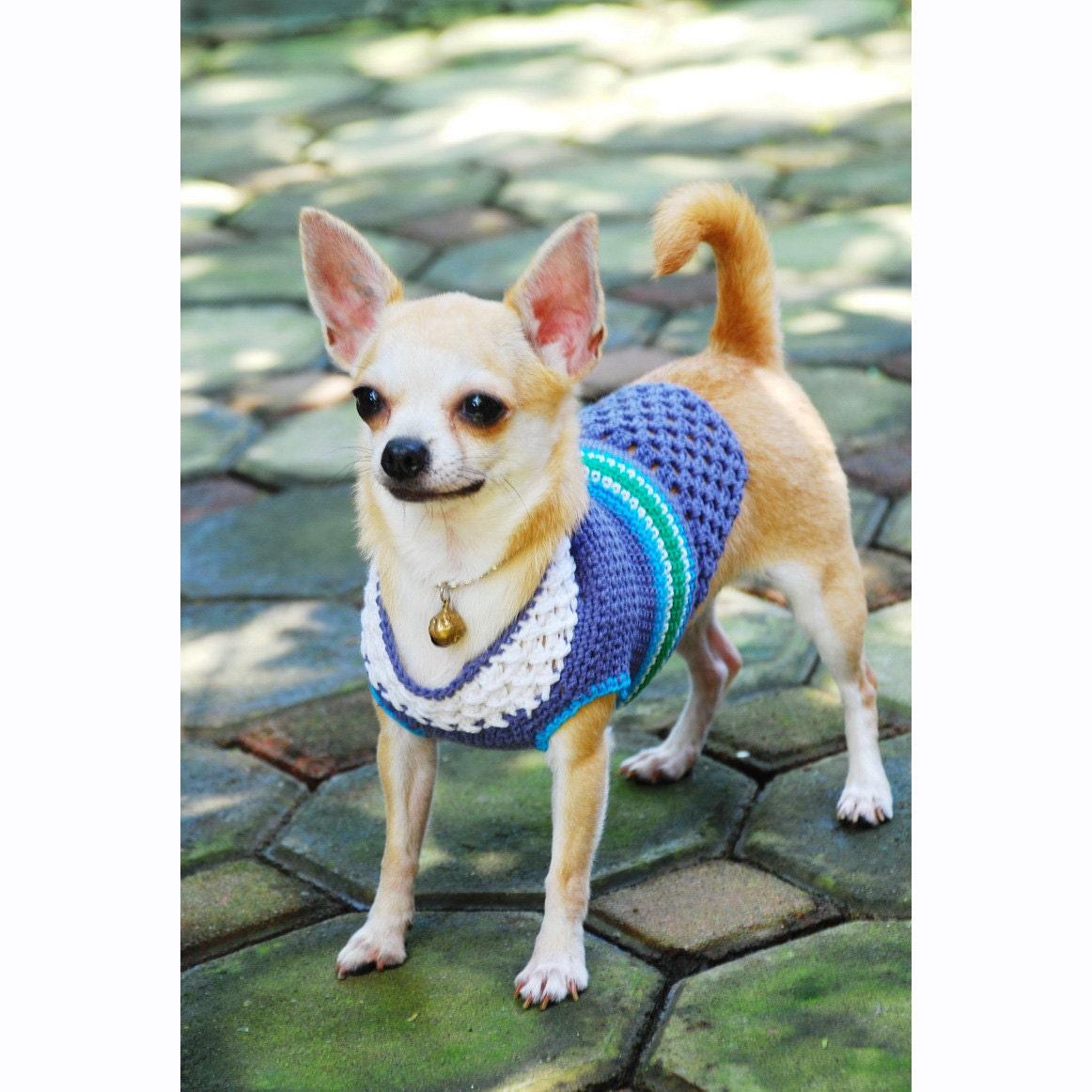 Crochet Xxs Dog Sweater : Blue Turquoise XXS Dog Clothes Handmade Crochet Cotton by myknitt