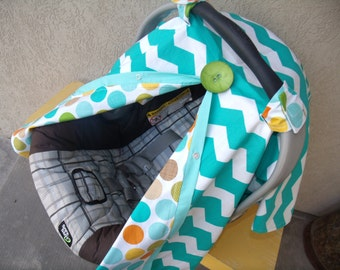 Carseat Canopy Teal Chevron Dot Reversible