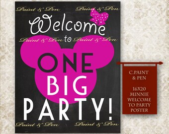Pink Minnie Mouse Party Sign -Mickey Mouse Party Sign -Instant Download Party Sign -Minnie Mouse Birthday Poster -Mickeys Big Party Poster