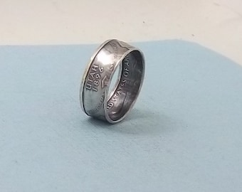 Silver coin ring Utah State quarter year 2007 size 8,  jewelry unique  gift FREE SHIPPING