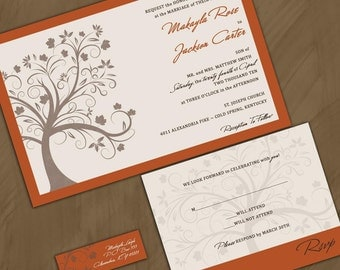 Fall  Wedding Invitation- Autumn Wedding - Fall Tree Invitiations