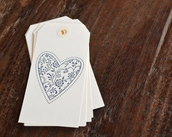 Gift Tags Hand Stamped  / Set of eight / black lace heart