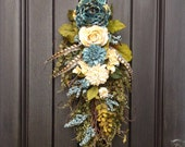Spring Wreath-Summer Wreath-Fall Wreath Teardrop Door Twig Swag Vertical Decor.. Use all Year Round Wispy Teal Cream Floral Swag