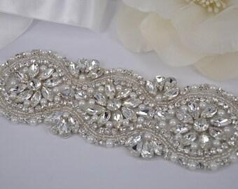 Gail - Vintage Style Rhinestone Crystals Wedding Belt Sash