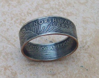 Birthday Gift For Him NORTH DAKOTA State Quarter Ring Made To Order Copper Nickel Quarter You Pick the Size 5-10