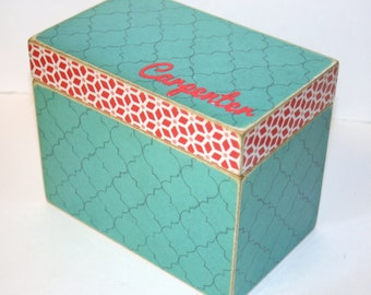 Recipe Box, Teal and Red Recipe Box, Quatrefoil Box, Red and Aqua Kitchen, 4x6 Wooden Recipe Box, Personalized Wedding Guest Book Box
