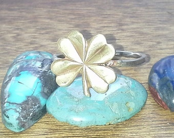 Little Four Leaf Clover- Sterling Silver and Brass- Stacking Ring