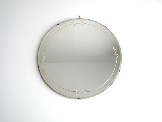 Vintage Round Wall Mirror Etched Glass Art By SnapshotVintage