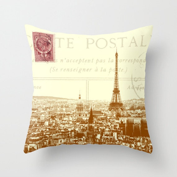 throw pillow cover paris carte postale vintage postcard by adidit. Black Bedroom Furniture Sets. Home Design Ideas