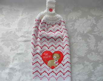 Hanging Double Kitchen Valentine Dog Towel Be Mine Towel Crochet Hanging Kitchen Towel
