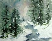 Winter Brook, Print of Original Watercolor Landscape Painting, winter painting, winter landscape, snow painting, winter stream, winter snow.