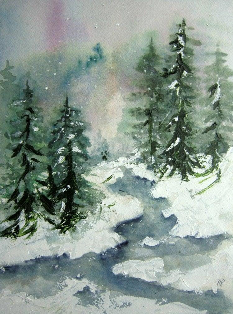 Winter Brook Print Of Original Watercolor Landscape By
