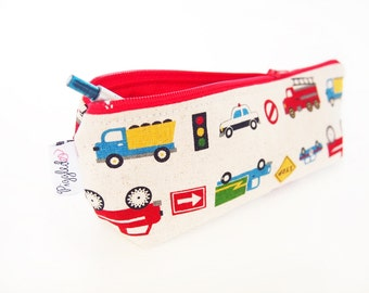 Zippered Pencil Case / Pouch - Working Cars (Natural)