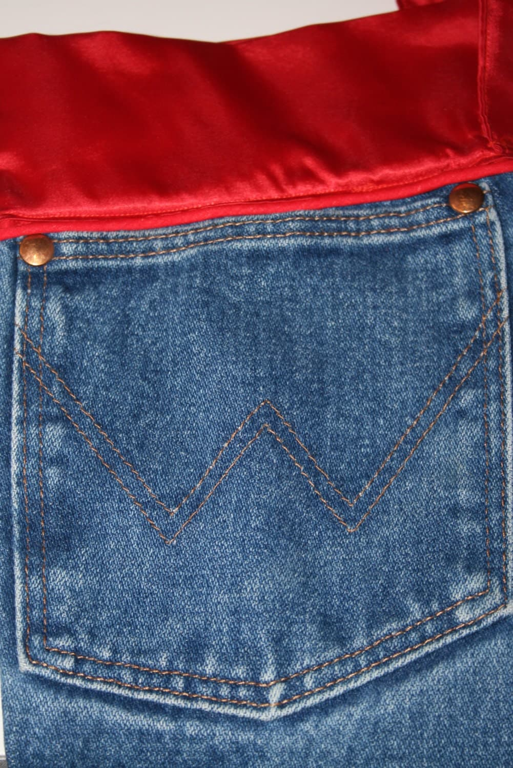 denim christmas stocking made from wrangler jeans with red. Black Bedroom Furniture Sets. Home Design Ideas