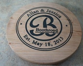 "Lazy Susan Gift, Wood Lazy Susan, Handmade Lazy Susan, Custom Carved 13"", Gift with Established Date, Unique Personalized Wedding Gift"
