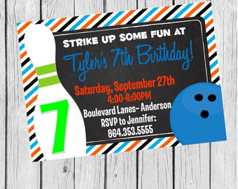 Boys Bowling Party Printable Invitation