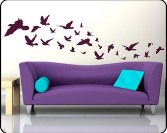 Flying Birds Wall Decal vinyl wall art - Choose your color - covers over 9ft as shown!