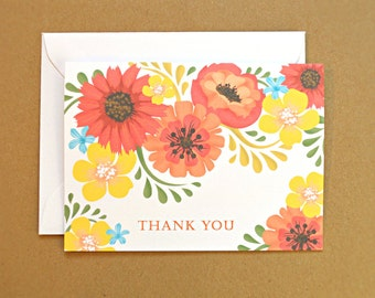 Thank You Cards / Wedding Thank You Cards, Orange and Yellow Vintage Flowers, 25-Count