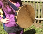 """RESERVED New Moon Crystal Drum Elk Hide 16"""" Ceremonial Frame Drum with one moonstone wrapped into the handle Hand Drum"""