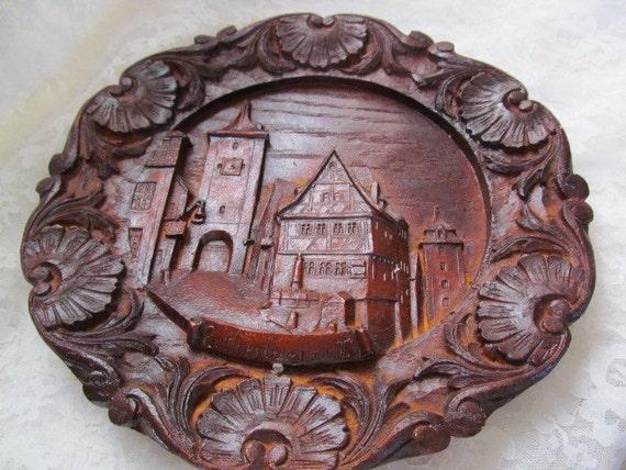 German Rothenburg Plonlein Castle Carved Wood By