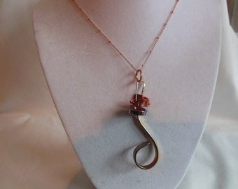 """16"""" Gold Pendant on Gold Knotted Chain, necklace, pendant, gold, knotted, knot"""
